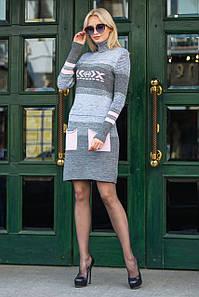 Платье вязаное под горло Мулине розовый