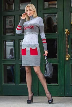 Женское теплое платье вязаное Мулине вишня, фото 2