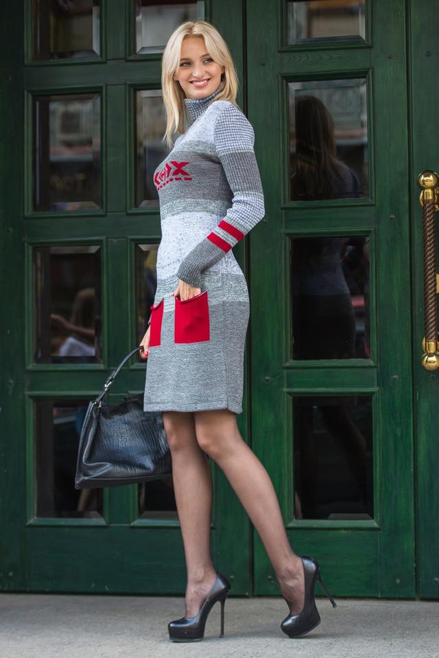 Женское теплое платье вязаное Мулине вишня