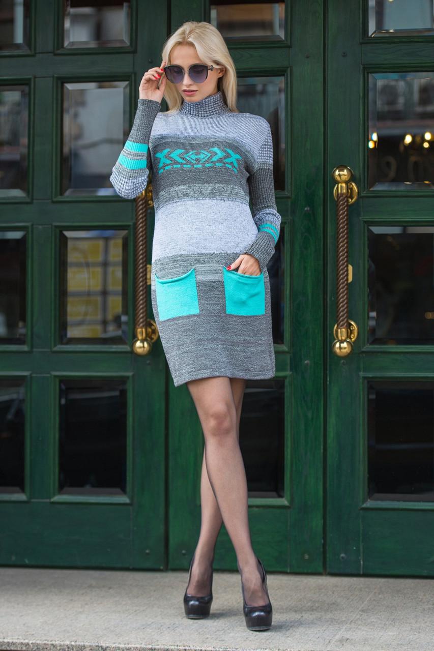 Женское теплое платье вязаное Мулине мята