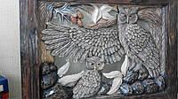 Настенная резная картина из дерева  Две совы