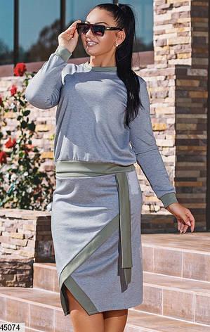 Стильный демисезонный женский костюм с юбкой размеры:50,52,54,56, фото 2