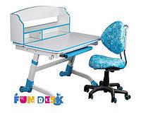 Детская парта-трансформер для дома FunDesk Volare II Blue + Детское кресло SST5 Blue