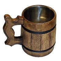 Бокал пивной из дерева кружка для пива