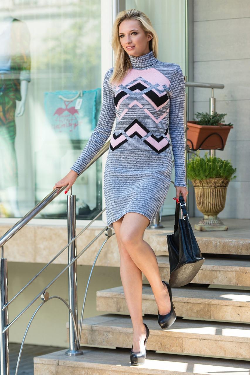 Модное вязаное платье Злата серый меланж-розовый-черный