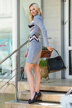 Модное вязаное платье Злата серый меланж-розовый-черный, фото 2