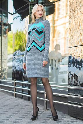 Вязаное платье женское Злата серый меланж-мята-черный, фото 2