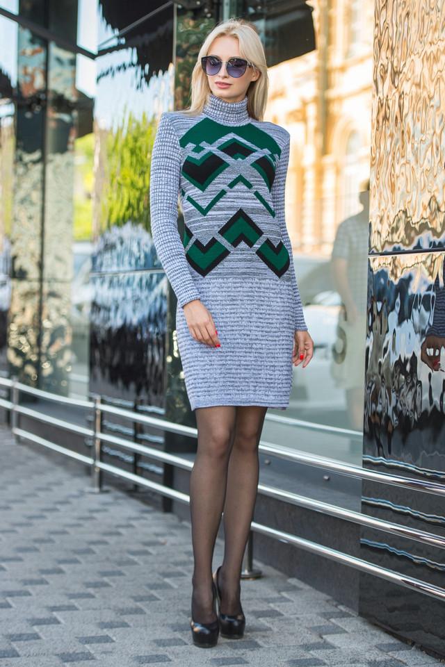 Вязаное платье женское миди Злата серый меланж-зеленый-черный