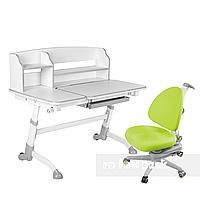 Комплект подростковая парта для школы Amare II Grey + ортопедическое кресло SST10 Green FunDesk