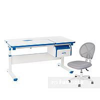Комплект парта Creare Blue с ящиком + детское ортопедическое кресло LST1 Grey FunDesk