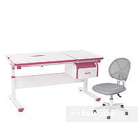Комплект парта Creare Pink с ящиком + детское ортопедическое кресло LST1 Grey FunDesk