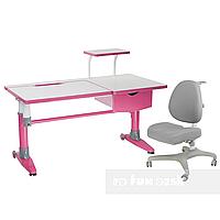 Комплект подростковая парта для школы Ballare Pink + ортопедическое кресло Bello I Grey FunDesk
