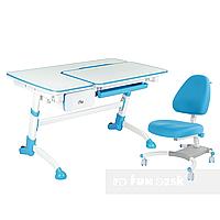 Комплект подростковая парта Amare Blue с выдвижным ящиком + подростковое кресло для дома Ottimo Blue FunDesk
