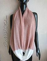 Нежный снуд шарф из мохера рожевий снуд