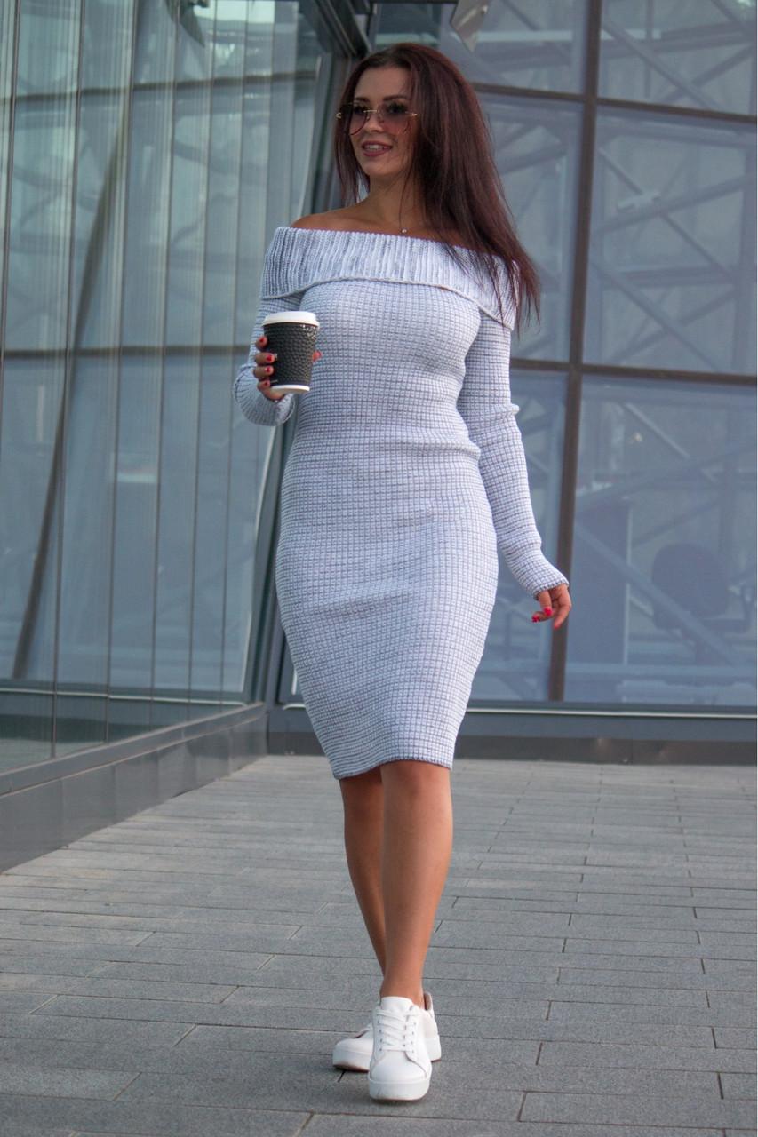 Однотонное вязаное платье по фигуре Ксюша белый меланж