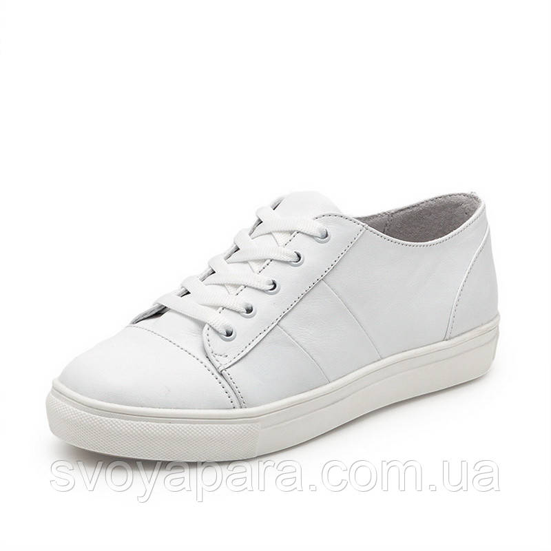 Кеды женские белые кожаные (034031)