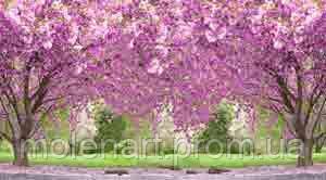 Сад розовые деревья