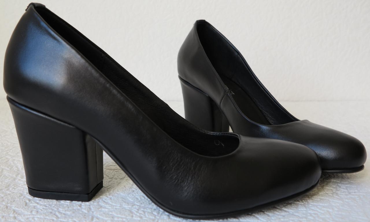 Nona! женские качественные классические туфли натуральная кожа черные взуття  на каблуке 7 a78366d10e970