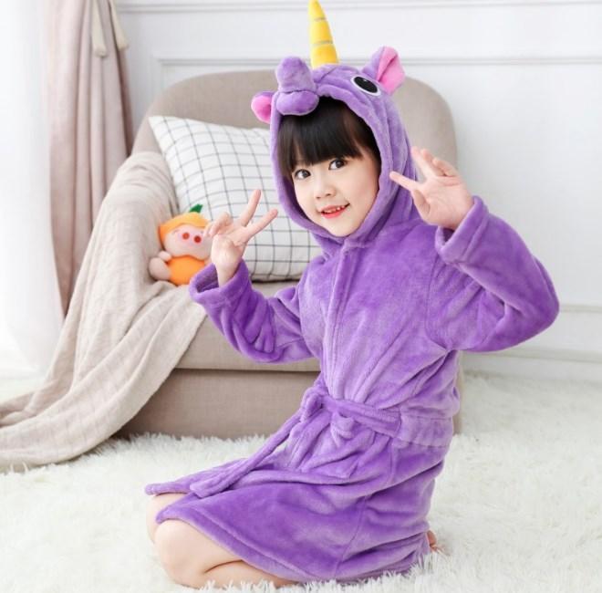 Халат кигуруми для детей Единорог фиолетовый