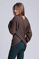 Теплый женски свитшот с запахом коричневый