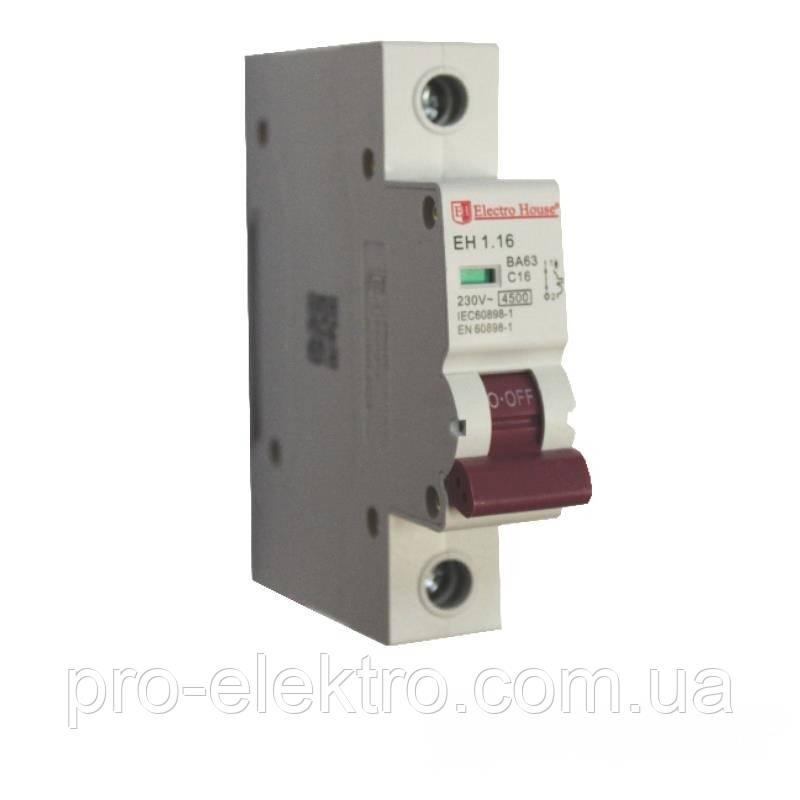 EH-1.16  Автоматический выключатель 1 полюс 16А