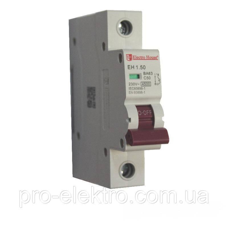 EH-1.50  Автоматический выключатель 1 полюс 50А