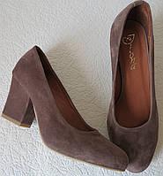 Nona! женские качественные классические туфли замшевые цвета какао батал взуття  каблук 7 a67fdad86ec65