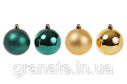 Набор ёлочных шаров, цвет: золото+зеленый 40 шт (6 см, 5 см, 4 см, 3 см)