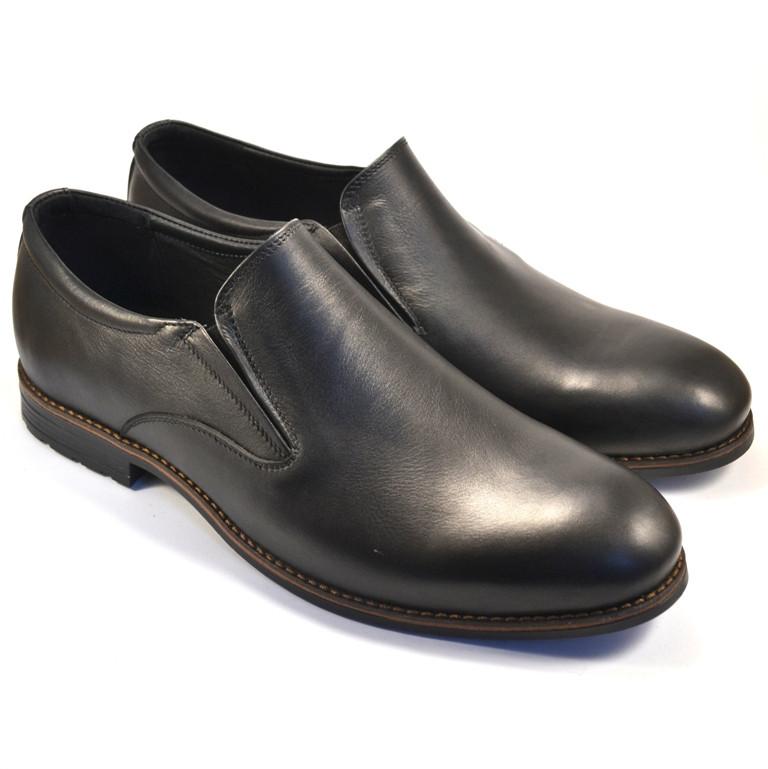 Туфли лоферы мужские кожаные черные без шнурков на резинках Rosso Avangard Feliceite Mono