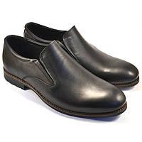 Туфли лоферы мужские кожаные черные без шнурков на резинках Rosso Avangard Feliceite Mono, фото 1