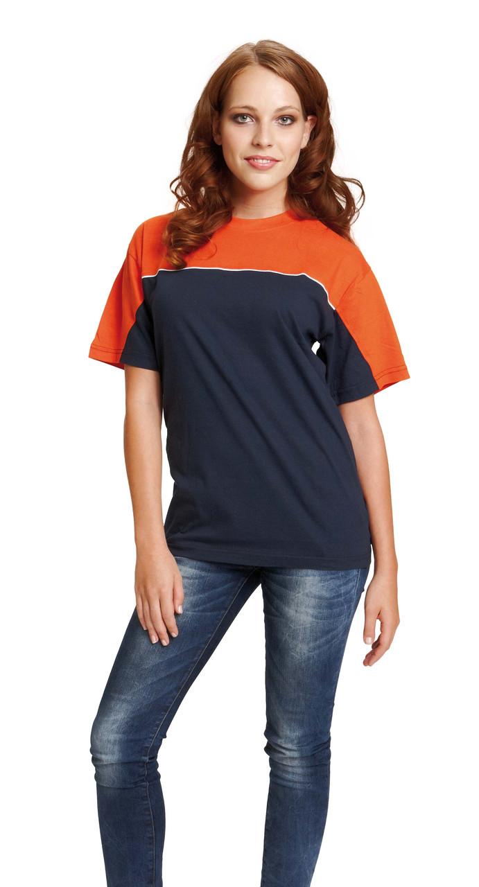 Футболка хлопок Červa Emerton темно-синяя с оранжевым 2XL, 3XL