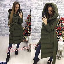 Зимнее теплое пальто с капюшоном