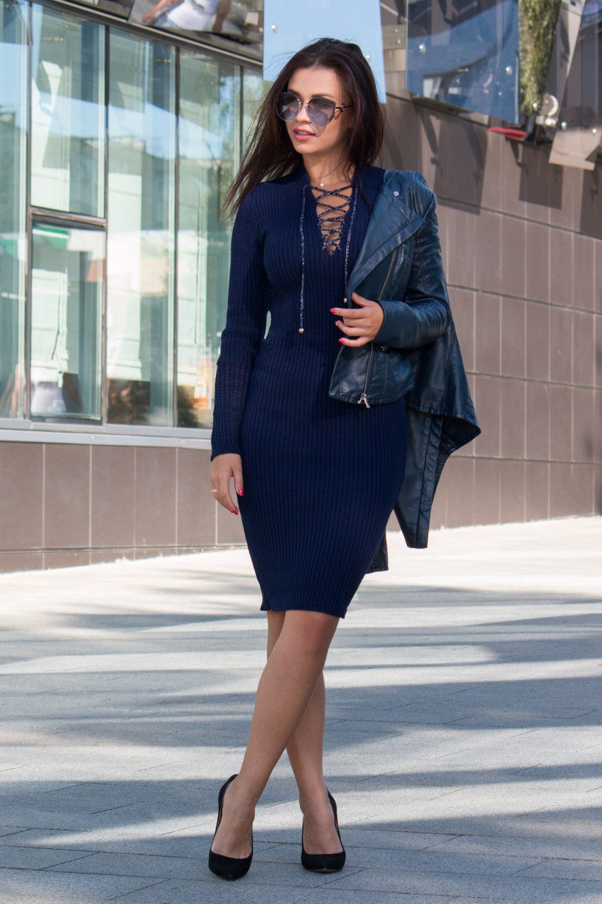 Теплое вязаное платье Риана синий