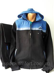 Турецкий тёплый спортивный прогулочный костюм, 3-нитка, Соккер, тёмно-синий.