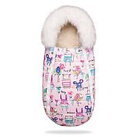 Зимний конверт кокон на овчине BabyXS в коляску Рисунки на розовом фоне с опушкой / Конверт зимний, фото 1