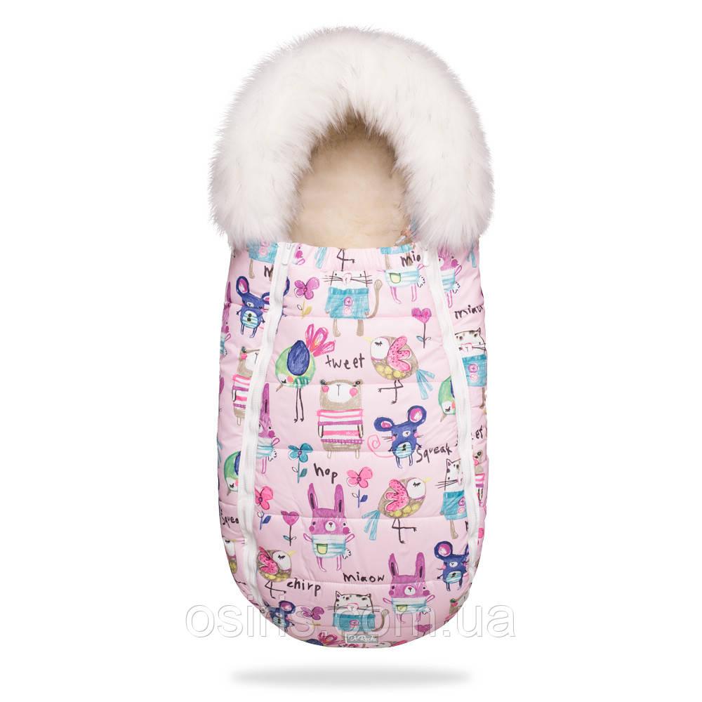 Зимний конверт кокон на овчине BabyXS в коляску Рисунки на розовом фоне с опушкой / Конверт зимний