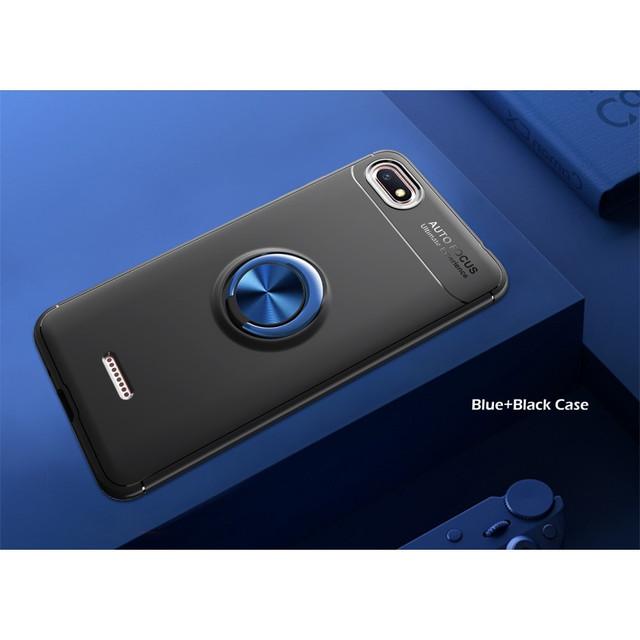 чехол накладка Xiaomi Redmi 6A  с магнитным кольцом черный с синим