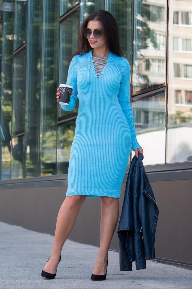 Вязаное женские платье миди Риана голубой