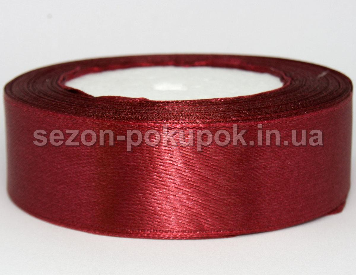 Лента атласная ширина 2,5 см (23 метра) Цвет - бордовый