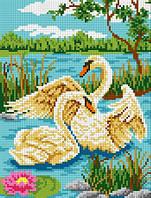 """Схема для вышивки крестом на канве Аида №16 """"Пара лебедей"""""""