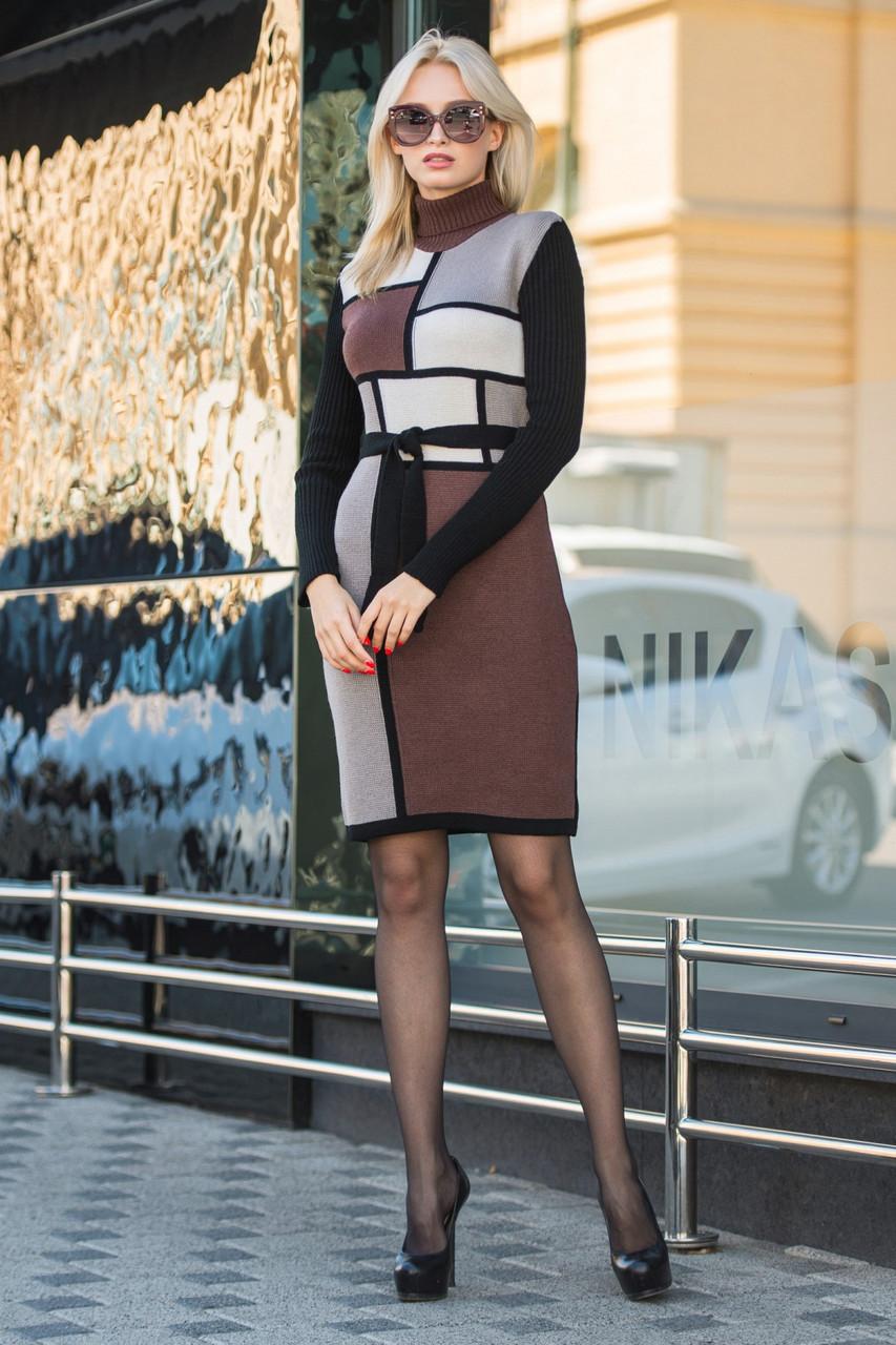 В'язана жіноча сукня Кубик (шоколад,пісок,капучіно,чорний)