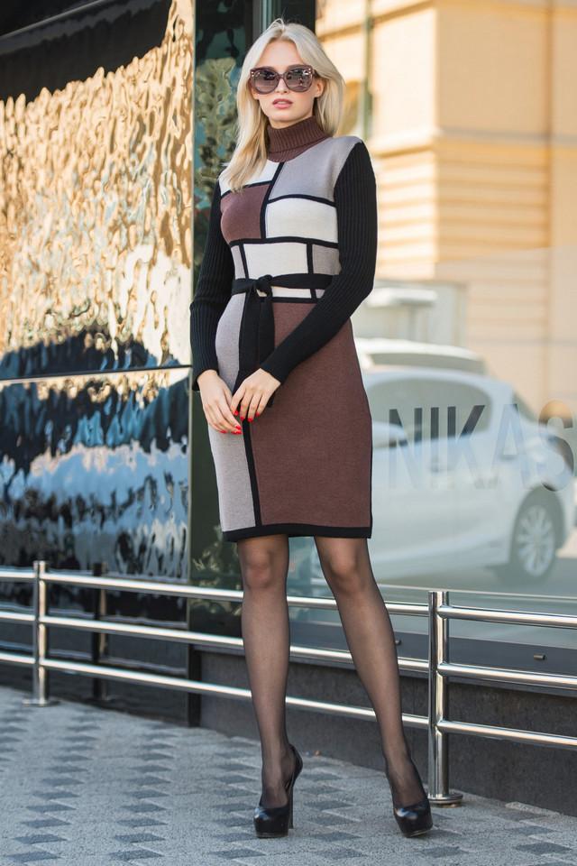 Вязаное платье женское Кубик шоколад - песок - капучино - черный