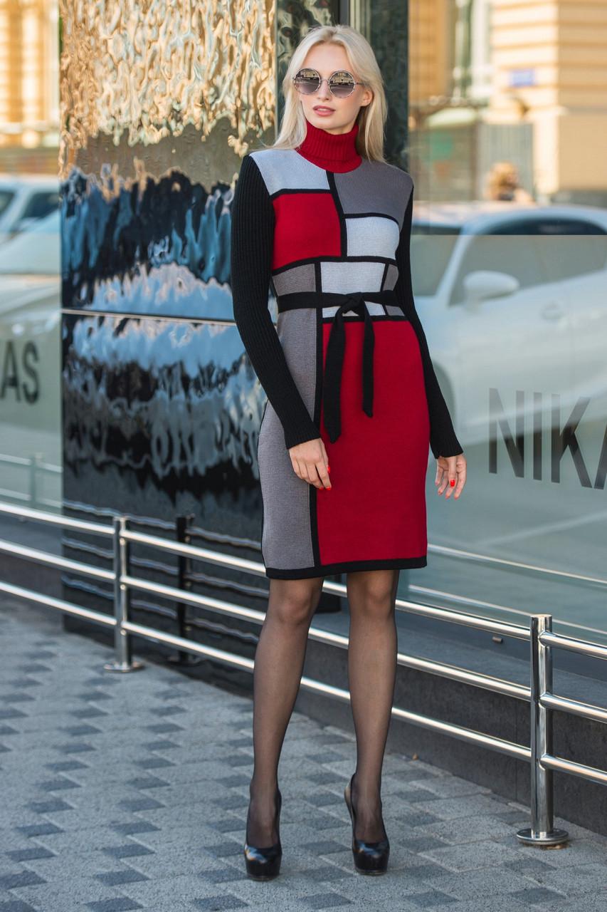 Вязаное платье женское Кубик графит - вишня - светло-серый - черный