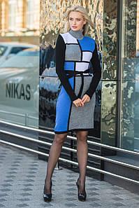 В'язана жіноча сукня Кубик (сірий,синій,білий, чорний)