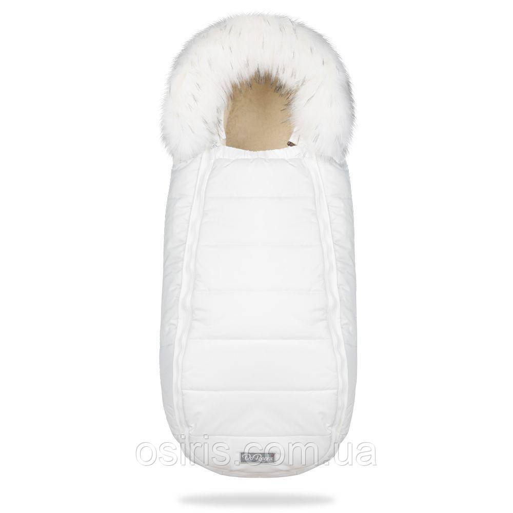 Зимний конверт - кокон на овчине Baby XS в коляску Белый с опушкой