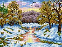 """Схема для вышивки крестом на канве Аида №16 """"Первый снег"""""""