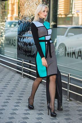 Вязаное платье женское Кубик графит - мята - голубой - черный, фото 2