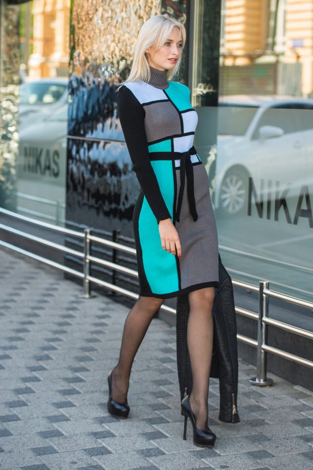 Вязаное платье женское Кубик графит - мята - голубой - черный