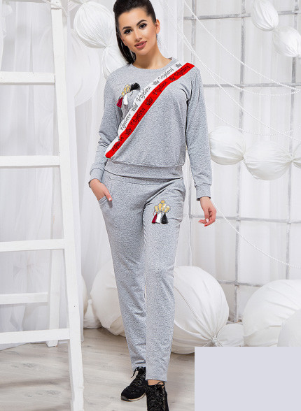 b8ba1c2cfb1 Купить Прогулочный серый костюм двойка 819277 Украина