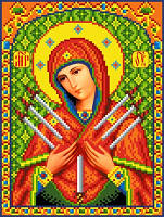 """Схема для вышивки крестом на канве Аида №16 """"Икона БМ Семистрельная"""""""